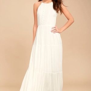 The Lulus For Life White Embroidered Maxi Dress